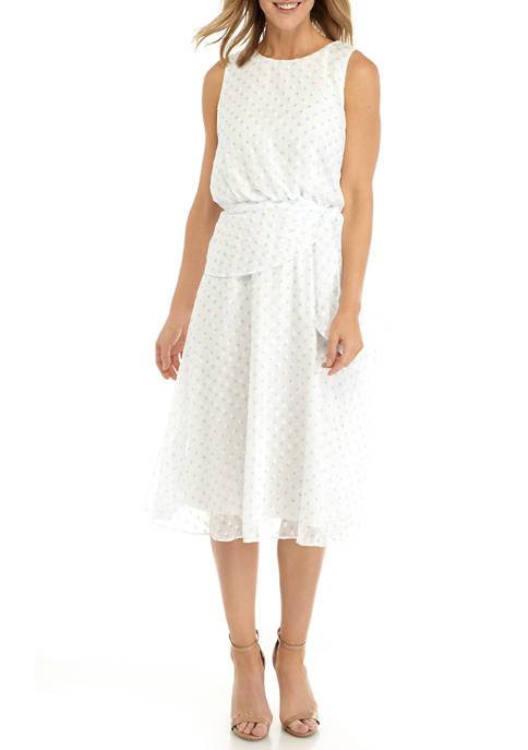 Gabby Skye Womens Tie Waist Clip Dot Dress
