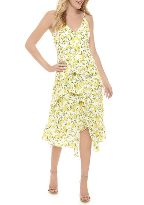 Womens Sleeveless Ruffle Tier Lemon Dress