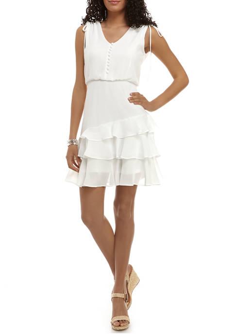 Bleecker 126 Womens Button Front Ruffle Tier Dress