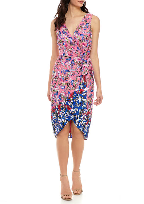 Bleecker 126 Womens Sleeveless Mixed Print Wrap Dress