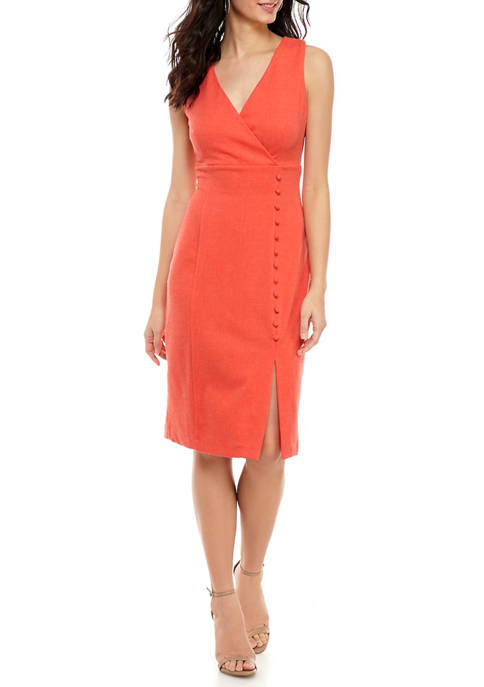 Bleecker 126 Womens Sleeveless V-Neck Button Side Dress