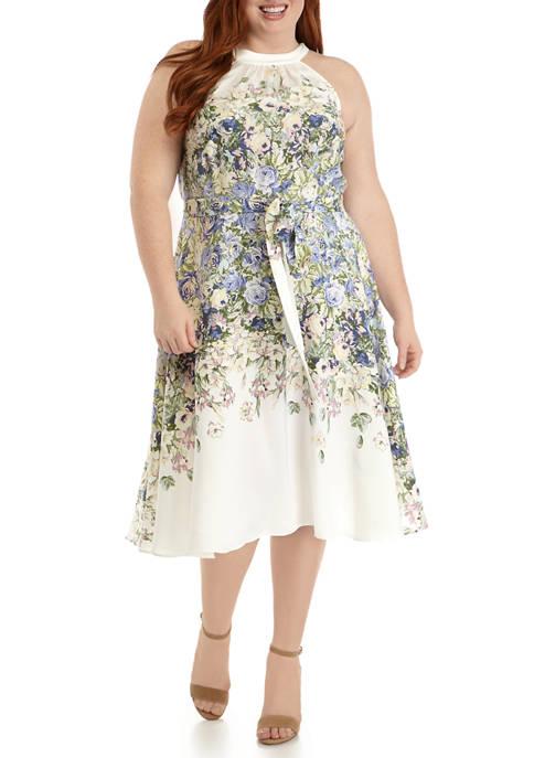 DN Designs Plus Size Halter Floral Tie Waist