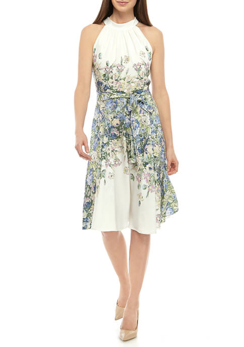 DN Designs Womens Halter Floral Tie Waist Dress