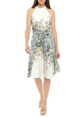Sam /& Max Navy Blue White Polka Dot Ruffle Mandarin VNeck Tie Cotton Shirt Dress