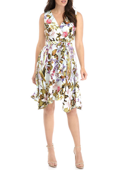 Womens Handkerchief Hem Floral Tie Waist Dress