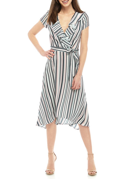 DN Designs Womens Ruffle Wrap Dress