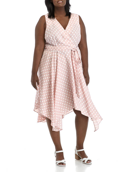 DN Designs Plus Size Surplice Handkerchief Hem Dress