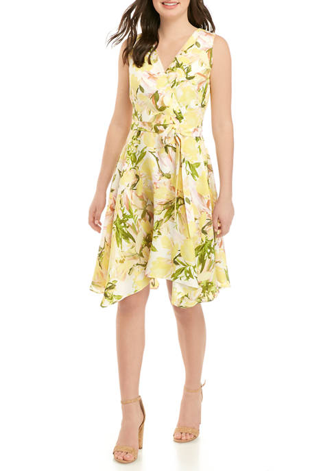 DN Designs Womens Floral Handkerchief Hem Dress with