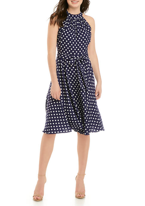 DN Designs Womens Halter Neck Dot Dress with