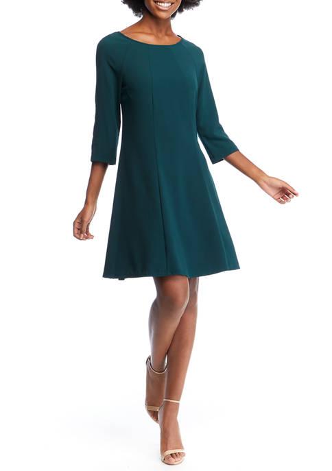 Gabby Skye Womens 3/4 Sleeve A Line Dress