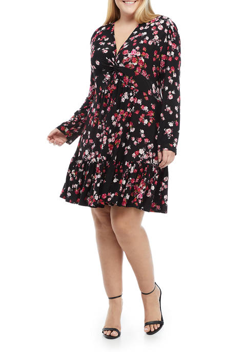 Gabby Skye Plus Size Floral Knit Flounce Hem