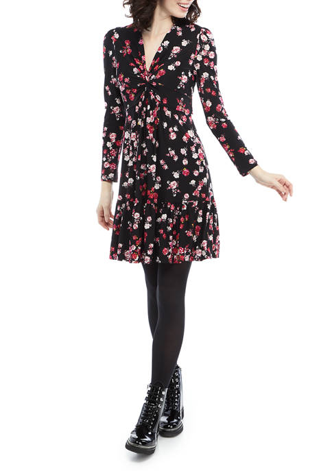 Gabby Skye Womens Floral Knit Flounce Hem Dress