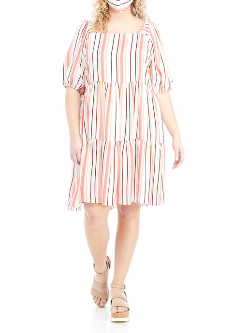 Gabby Skye Plus Size Vertical Stripe Babydoll Dress