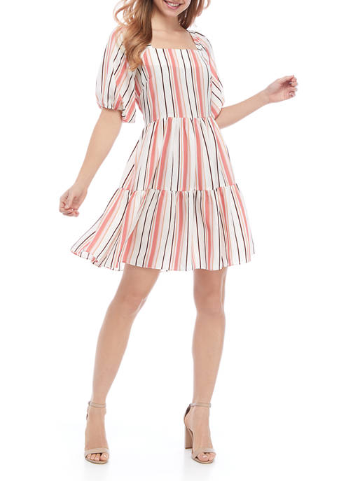 Womens Vertical Stripe Babydoll Dress
