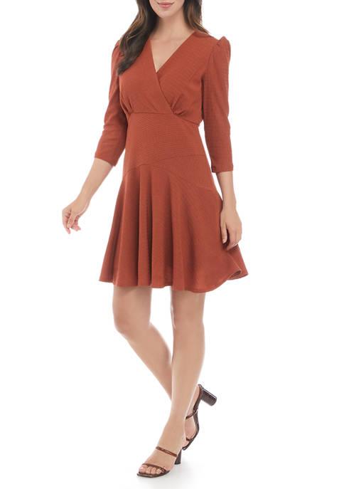 Womens 3/4 Sleeve Textured Surplice Knit Dress