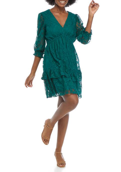 Maison Tara Womens 3/4 Sleeve V-Neck Lace Tiered