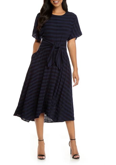 Gabby Skye Womens Dolman Sleeve Stripe Tie Waist