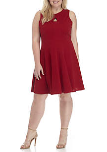 Plus Size Sleeveless Glitter Fit and Flare Dress