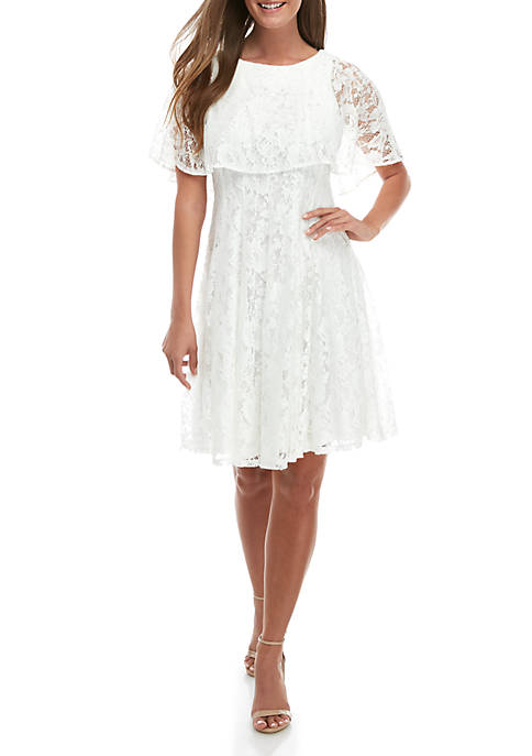 Lace Popover Fit and Flare Dress