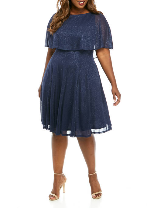 Plus Size Caplet Glitter Knit Short Dress