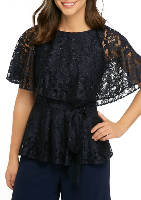 Gabby Skye Occasion Womens Lace Caplet Blouse