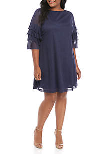 Gabby Skye Occasion Plus Size Cha Cha Glitter Short Dress