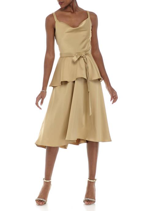 Womens Sleeveless Peplum Tie Midi Dress