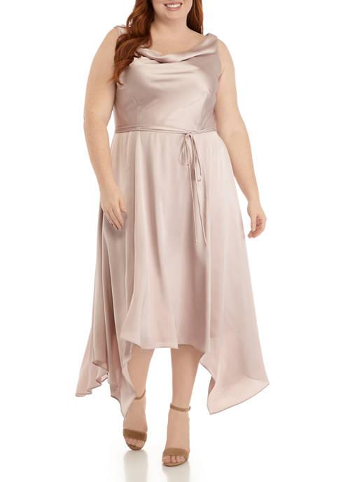 Plus Size Sleeveless Cowl Neck Asymmetric Dress