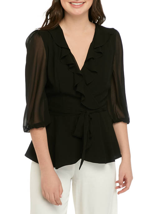 Gabby Skye Occasion Womens 3/4 Sleeve Faux Wrap