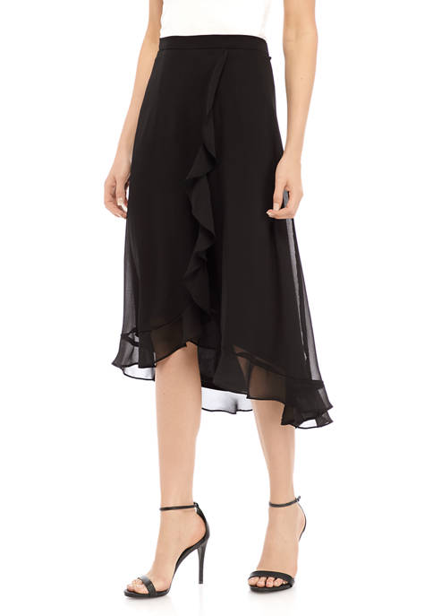 Gabby Skye Occasion Womens Ruffle Side Midi Skirt
