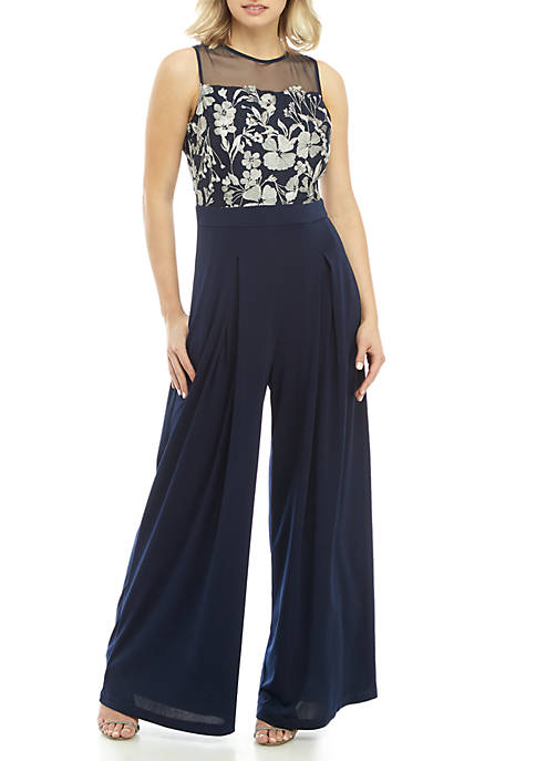 GLAMOUR BY Gabriella Skye Sleeveless Embroidered Jumpsuit