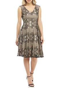 GLAMOUR BY Gabriella Skye Cap Sleeve Short Lace Lurex Dress