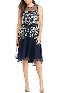 GLAMOUR BY Gabriella Skye Sleeveless Embroidered Mesh Party Dress