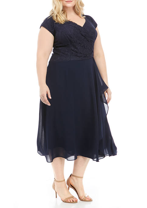 Gabby Skye Occasion Plus Size Lace Top Tea