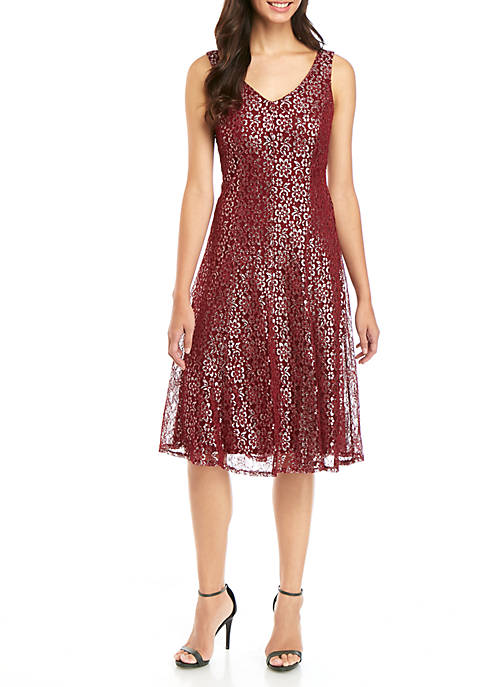 Sleeveless V-Neck Lace Fit and Flare Midi Dress