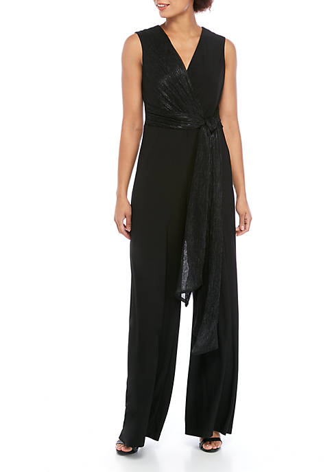 Gabby Skye Occasion Sleeveless Surplice Tie Jumpsuit