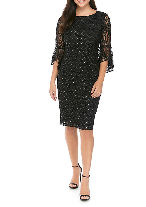 Gabby Skye Occasion Womens Diamond Pattern Bell Sleeve