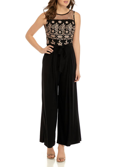 Womens Embroidered Lace Jumpsuit