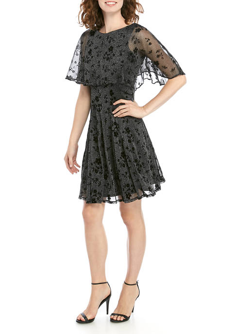 Gabby Skye Occasion Womens Flocked Mesh Capelet Dress