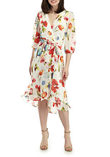 0075b7331a20 ... Gabby Skye 3/4 Sleeve Floral Dot Wrap Dress