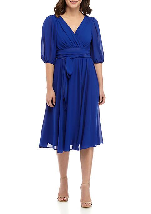 Gabby Skye Elbow Sleeve Solid Chiffon Wrap Dress