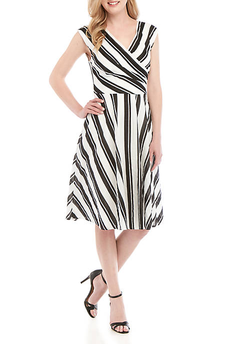 Gabby Skye Stripe Faux Wrap Dress