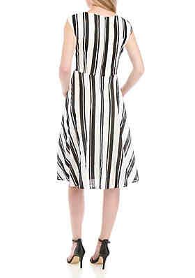 d7cb6ea2b3c9 ... Gabby Skye Stripe Faux Wrap Dress
