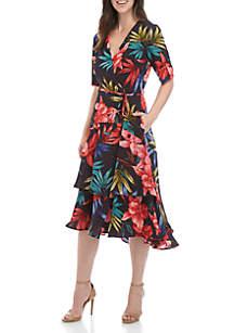 Short Sleeve Printed Crepe Faux Wrap Dress