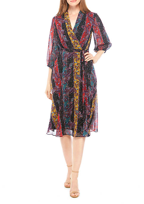 Gabby Skye 3/4 Sleeve Printed Chiffon Wrap Dress