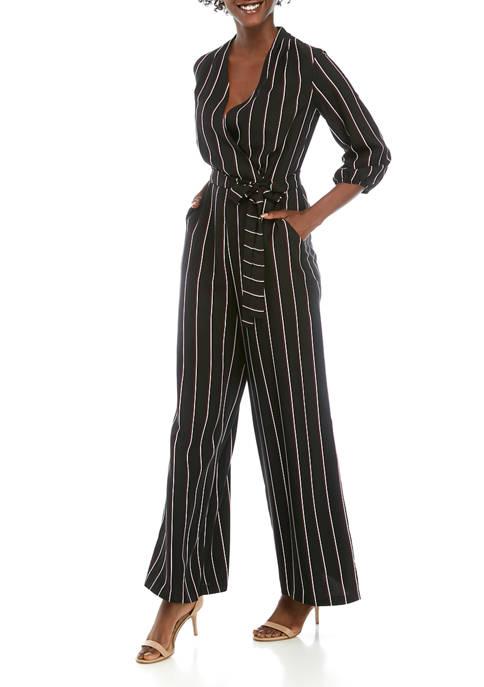 Gabby Skye Womens Pinstripe Wrap Jumpsuit