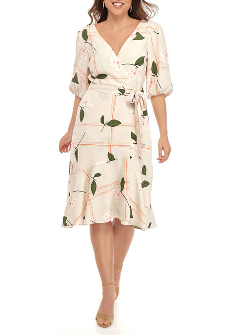 Julian Taylor Womens Puff Sleeve Grid Floral Dress