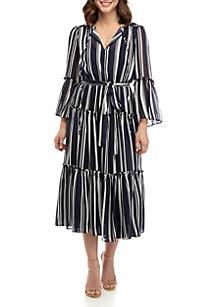 Gabby Skye Metallic Stripe Chiffon Dress