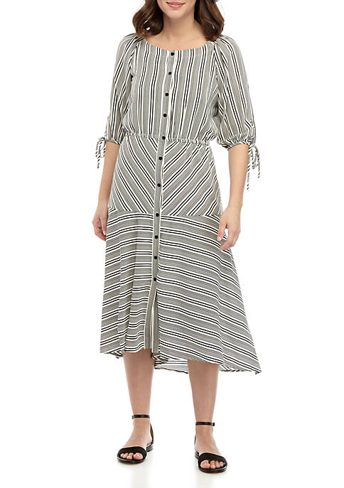 Gabby Skye Button Front Crepe Stripe Dress