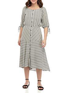 Gabby Skye Button Front Crepe Stripe Dress